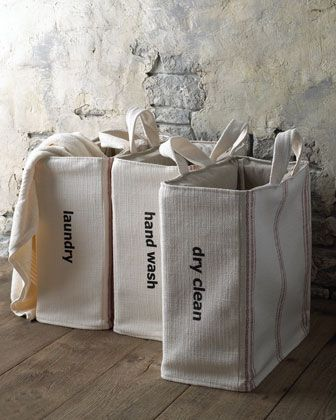 "Laundry Totes by French Laundry Home at Horchow. Linen Closet: 23w x 30h Bag: 9.5""W x 20""D x 20""T."
