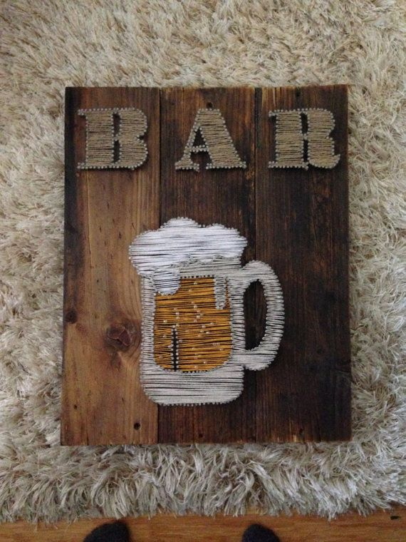 String Art Bar Sign with foaming beer mug and by 8thAveProject