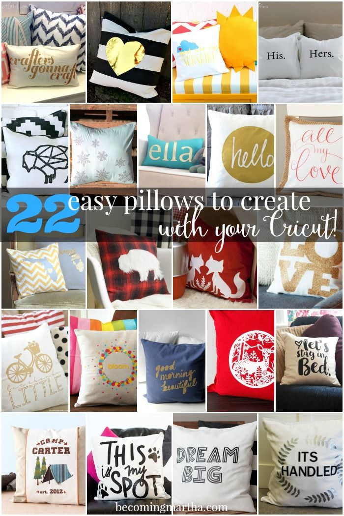 Here are 22 great pillows to make with your Cricut - easy as can be! Most can even be made in under 30 minutes!  #SecretCricutSanta #Cricut