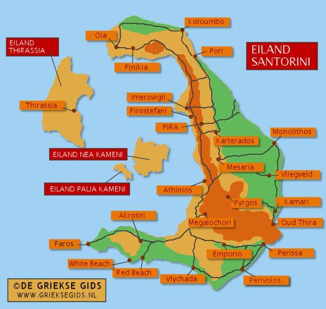 Landkaart Santorini - Plattegrond Santorini - Map of Santorini