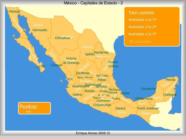 Mapa interactivo de México Capitales de estado de México. ¿Cómo se llama? Enrique Alonso - Mapas Interactivos Para que no andemos dando penas... o peñas?