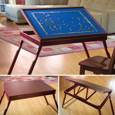 Bits And Pieces   Puzzle Expert Wooden Tilt Up Table   Folding Jigsaw Puzzle  Accessory Table   Folds For Easy Storage