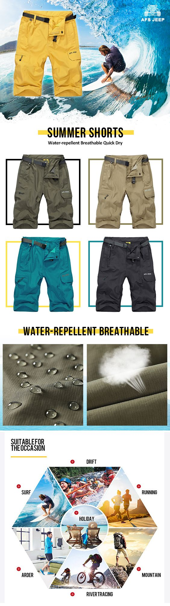 Home clothing mens clothing dragon furnace longsleeve t - Afsjeep Mens Summer Water Repellent Breathable Quick Dry Zippered Pocket Shorts
