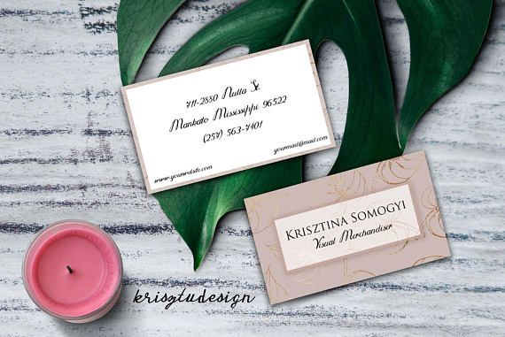 Pink business card Gold business card Contact card