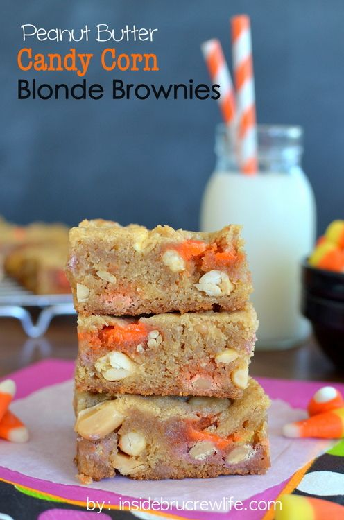 Peanut Butter Candy Corn Blonde Brownies - peanuts, candy corn, and Reese's pieces inside a peanut butter blonde brownie www.insidebrucrewli...