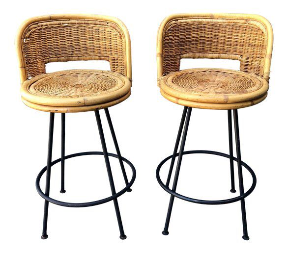 Mid Century Wicker Rattan Counter Height Bar Stools On Chairish Com Rattan Bar Stools Wicker Bar Stools Bar Stools