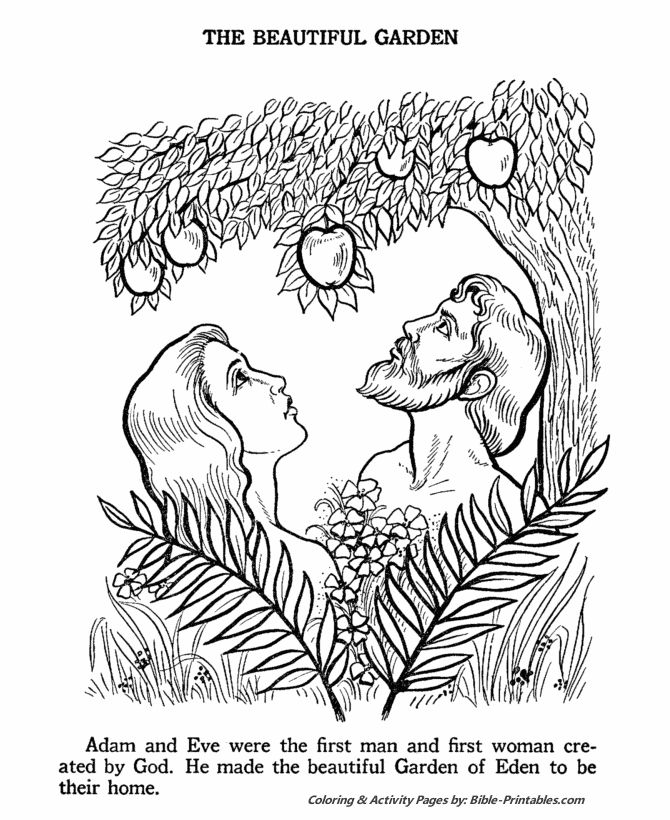 Adam And Eve In The Garden Of Eden Bible Coloring Pages