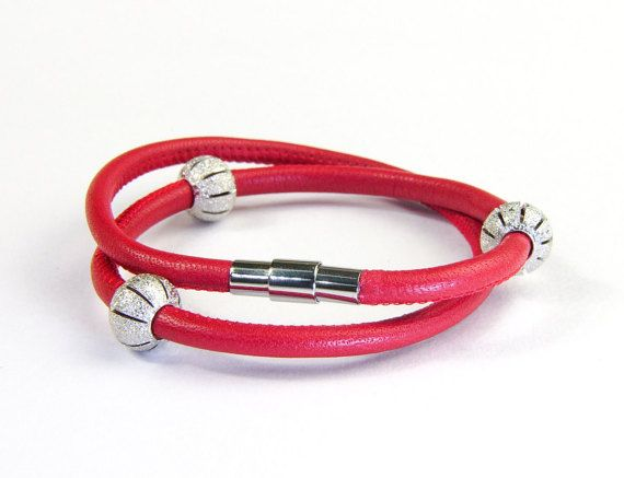 Double Wrap Genuine Lamb Leather Bracelet with by AltGoodDesign