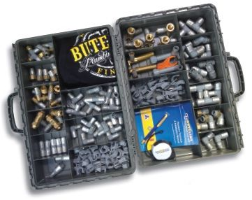 Bute Fittings Case -- a time-tested robust tradesmans toolbox with a range of useful Buteline fittings inside.