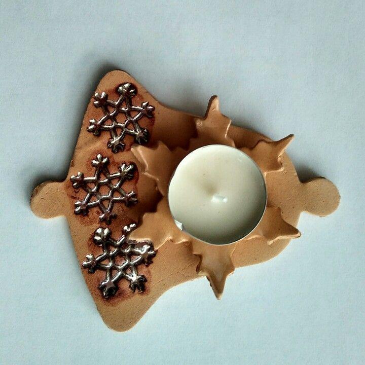 Keramický vánoční svícen, zvonek s vločkami,červenozlatá glazura