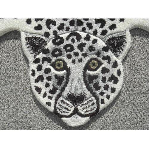 Modern Hand Tufted Leopard Skin Shaped Wool Rug - 4′6″ × 6′
