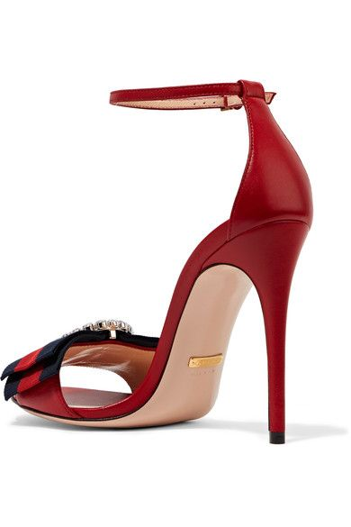 Gucci - Embellished Grosgrain-trimmed Leather Sandals - Red
