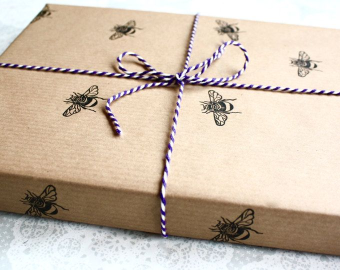 Bumble Bee Wrapping Paper Gift Wrap Sheet Insect Prints Brown Paper Birthdays Handmade Gift Handmade Gift Wrap Gift Wrapping Techniques Gift Wrapping