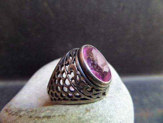 amethyst silver solitaire ringamethyst filigree by CodettiSupply