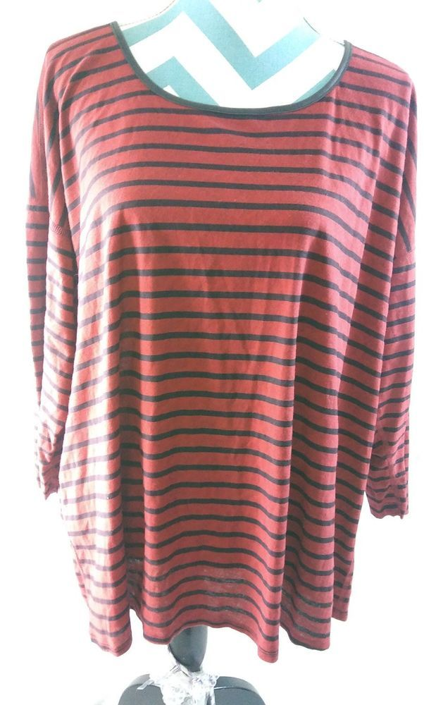 87473082ba Jessica Simpson Womens Plus Size 2X Knit Top Red Black Striped T Shirt  #JessicaSimpson #KnitTop #Casual #plussize #plussizefashion