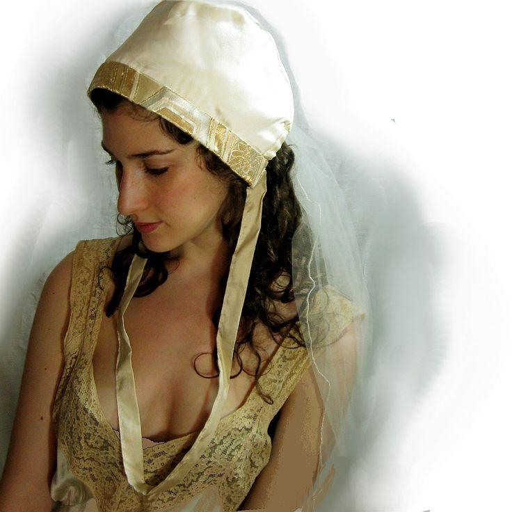 Ivory Silk Wedding Bonnet with Gold Trim /// Delight Worthyn