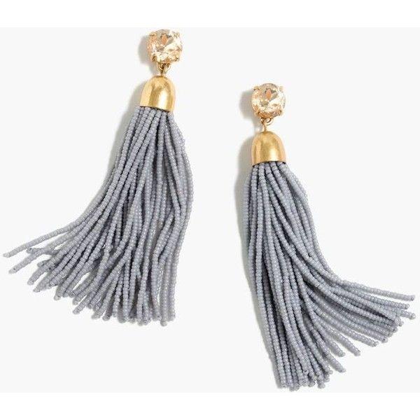 J.Crew Beaded tassel earrings ($65) ❤ liked on Polyvore featuring jewelry, earrings, tassle earrings, beading earrings, j crew earrings, j crew jewellery and earrings jewelry