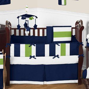 Fitted Crib Sheet for Navy Blue and Lime Green Baby/Toddler Bedding Set Collection - Stripe Print