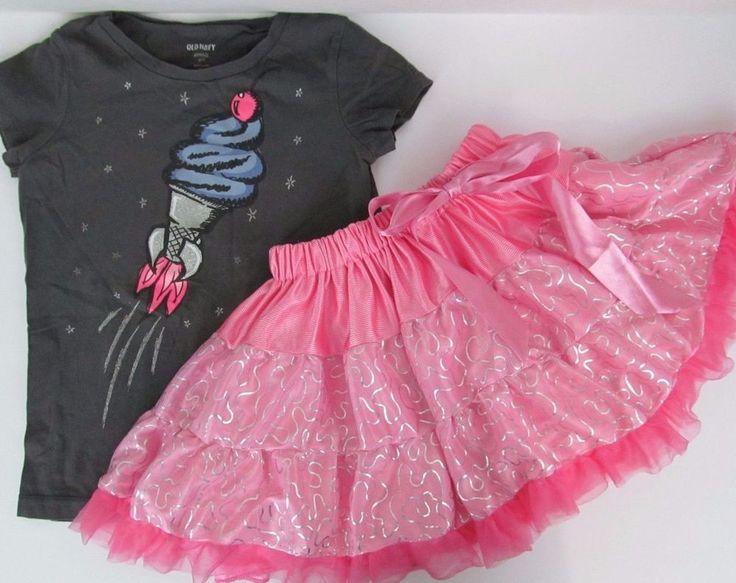 Girls Clothes Lot 6 7 T Shirt Tee Top Pink Tutu Skirt Pettiskirt Outfit Ballet
