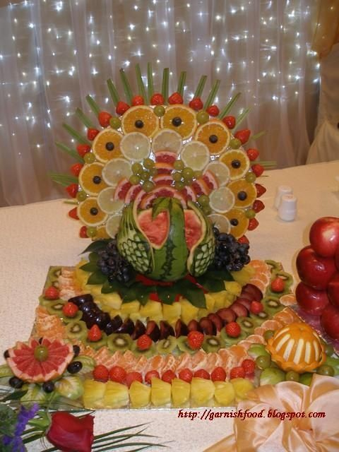 Peacock carved food art