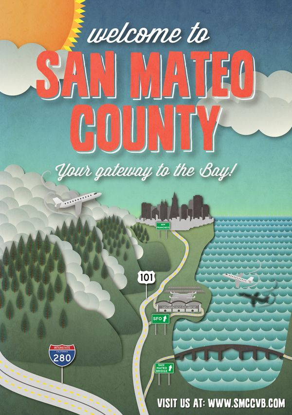 San Mateo County Convention & Visitor Bureau Poster by emilio jose bernard