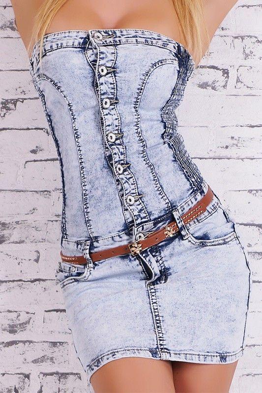 Džínové minišaty nad prsa - In oblečení