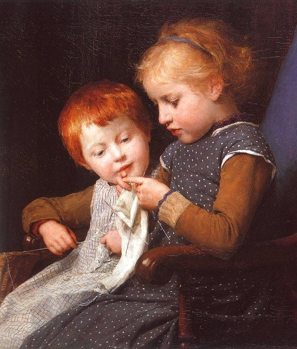 The Little Knitters by Albert Anker (1831-1910)