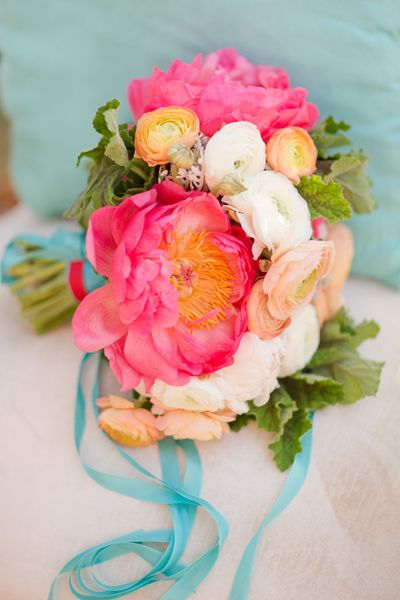 Peach, Aqua, White & Red Color Palette - The Bride's Cafe. So beautiful. I love this, but I'd prefer to tone down the bright pink for corals and peach tones or yellow for my palette