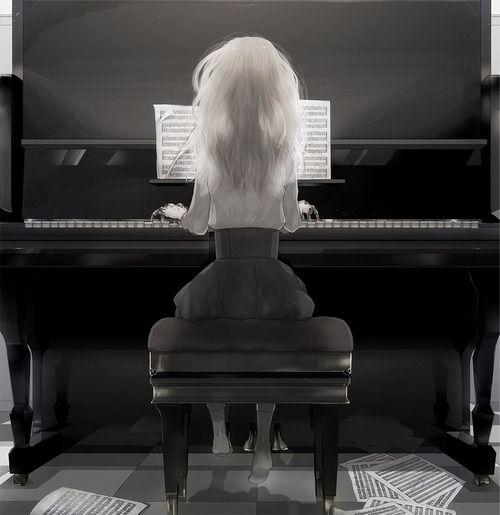 piano, girl illustration | At The Piano | Pinterest