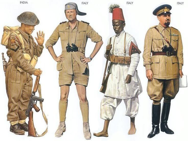 World War II Uniforms - ndia - 1944 Aug., Italy, Lance-Corporal, Royal Gurkha Rifles Italy - 1940 Aug., Sidi Azeis, Lieutenant, Infantry Division Italy - 1940 June, Ethiopia, Corporal, VI Eritrea Battalion Italy - 1940 May, North Africa, Air Marshal, Italian AF