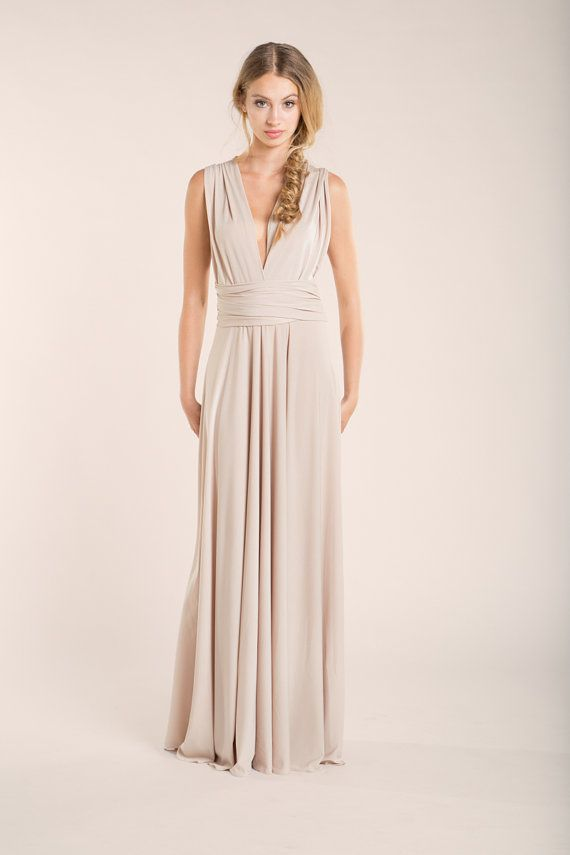 Nude wedding dress, Beige dress, champagne simple dress, Beige wedding gown, Cream long infinity dress, Champagne long dress, bride