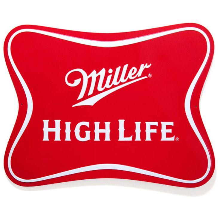 Miller High Life logo die-cut metal beer sign