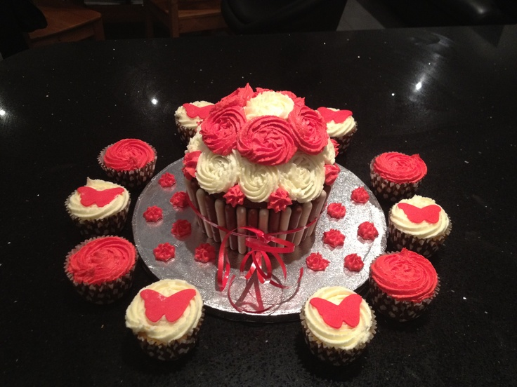 Giant cupcake with matching cupcakes!