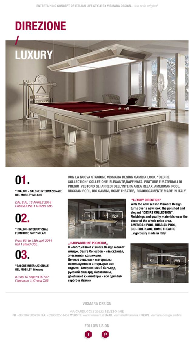 Luxury furniture for vismara design new collection desire