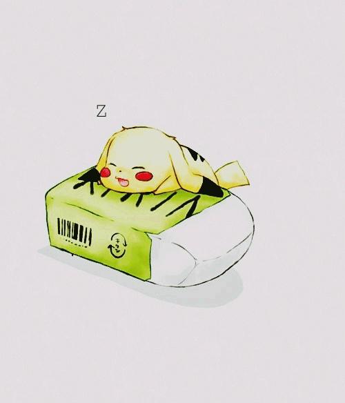 Pikachu IS HE SLEEPING ON AN ERASER???