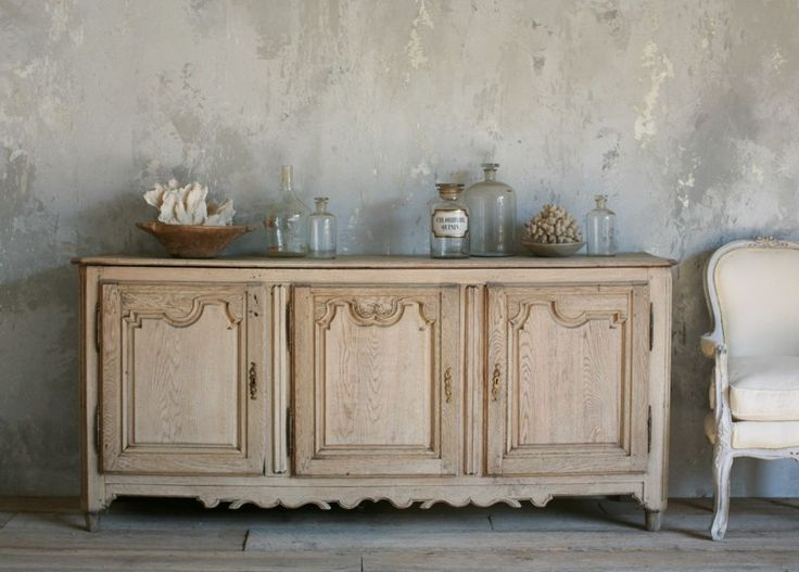 Antique French Patina Oak Wood Sideboard Bleached Light