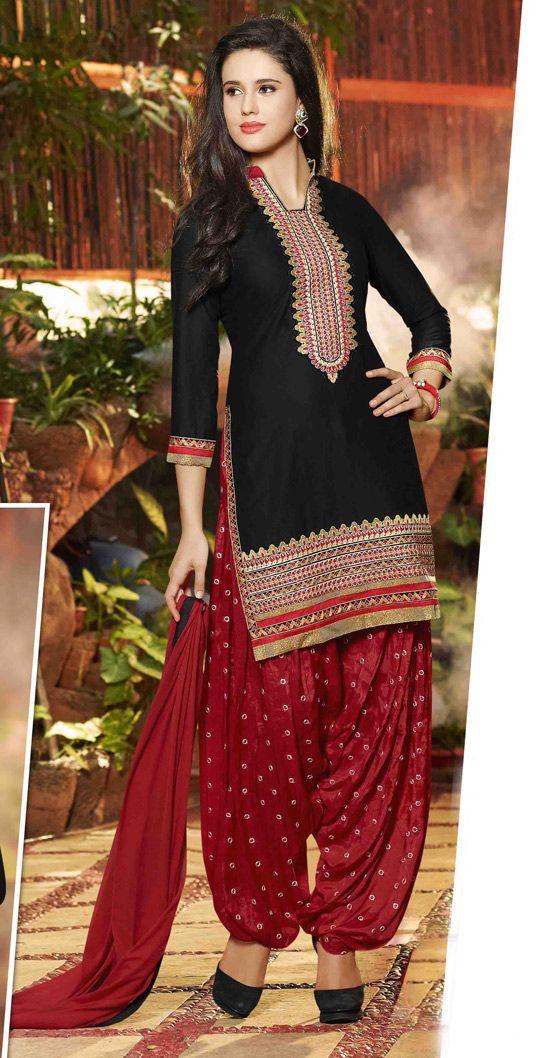 $26.90 Black Cotton Punjabi Suit 56207