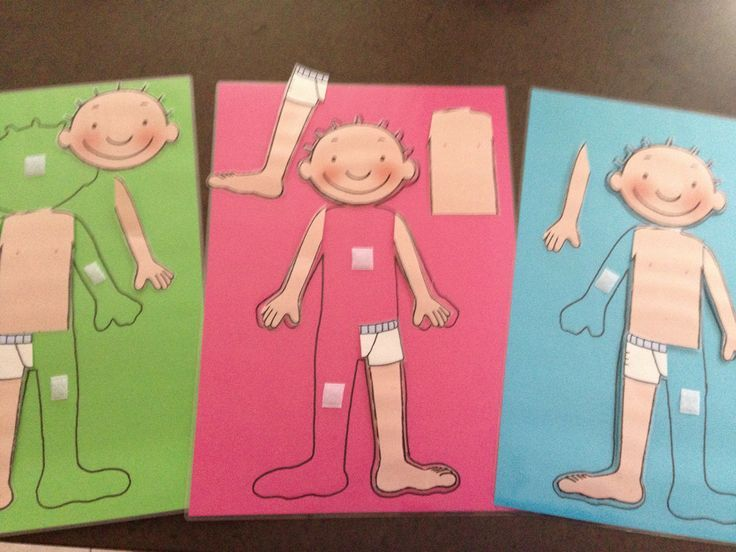 Het lichaam van Jules:   Het kind moet de juiste ledematen op de aangeduide plaatsen kleven om zo het lichaam te vervolledigen. Zo leert het kind zijn lichaam kennen.