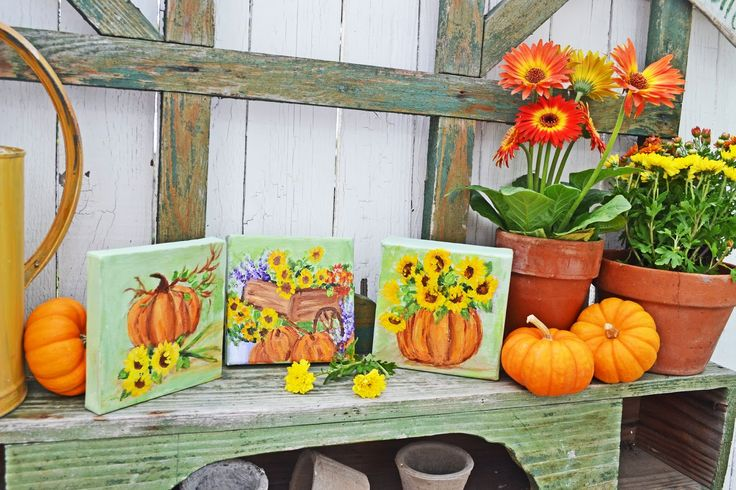 Painting pumpkins and fall flowers fall in my garden Flower painted pumpkins