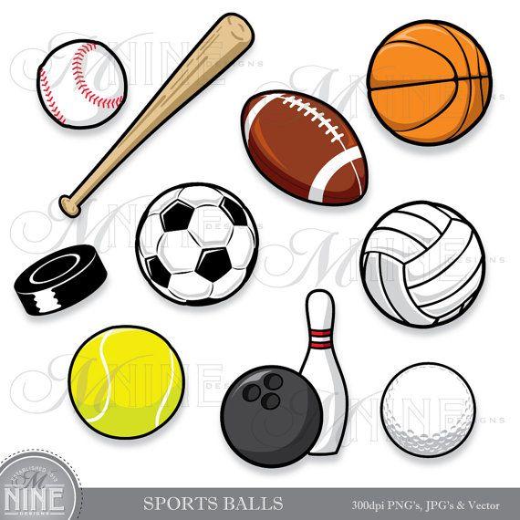 Clipart SPORTS BALLS Clip Art, Instant Download, Sport Ball Digital Clipart Vector Art Football Soccer Baseball Basketball Golf Graphics