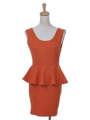 Anna-Kaci S/M Fit Orange Sexy Low Back Contemporary Design Knit Peplum Dress
