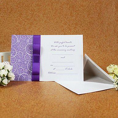 Elegant Style Wedding Invitation With Purple Ribbon (Set of 50) – GBP £ 38.87