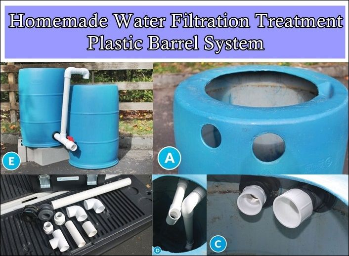 Homemade Water Filtration Treatment Plastic Barrel System  - Off The Grid - Homesteading  - The Homestead Survival .Com
