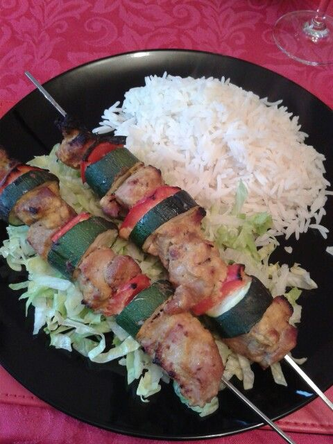 Turkey, pepper and courgette skewers