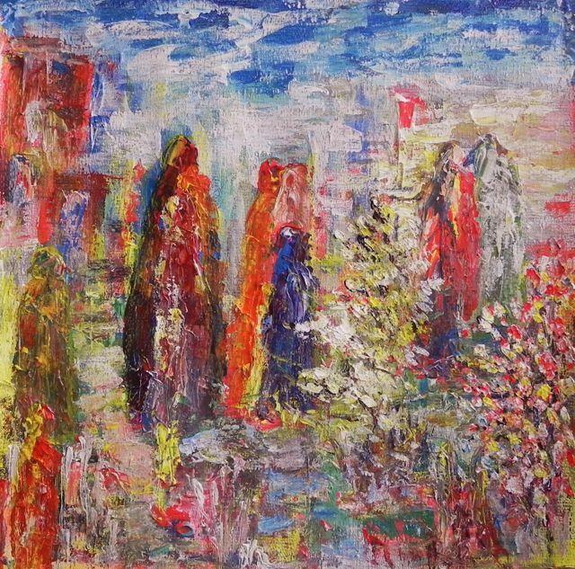 Walking home | acryl op papier op mdf, ingelijst | ca 56 x 55 cm | © irka Stachiw  #painting #schilderij #acrylic #landscape #soul #impressionism #eternaljourney