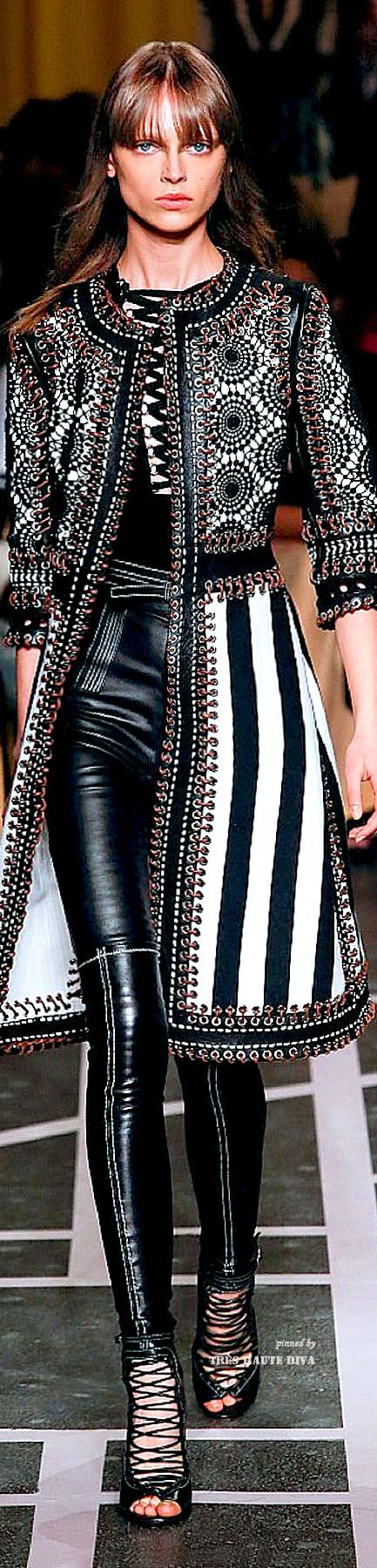 Givenchy ~ Spring  Black+White Pattern Midi Coat w Black Leather Skinny Pant 2015 Paris