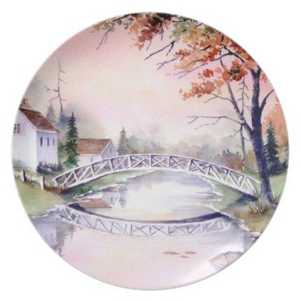Arched Bridge Watercolor Painting Melamine Plate - thanksgiving day family holiday decor design idea