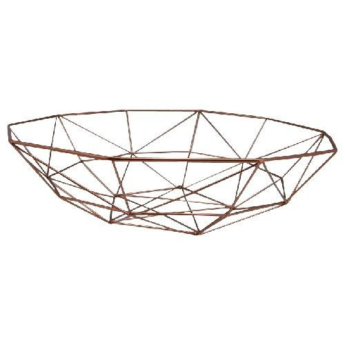 Metal Basket Fruit Bowl Stylie in Copper Gold 40cm. Also avaliable in Navy, Teal and White.