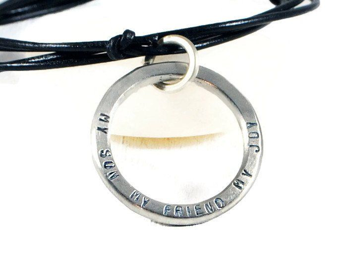 My Son My Friend My Joy Personalized Karma Leather Necklace.