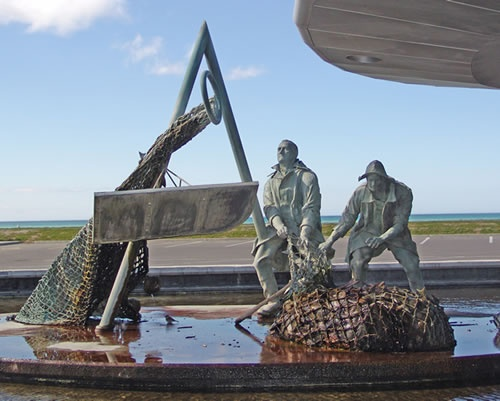 Trawlermen Sculpture - on the foreshore in Napier, New Zealand